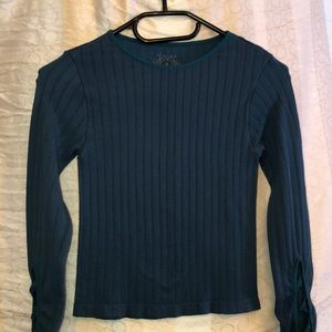 Long sleeve top with criss cross sleeves